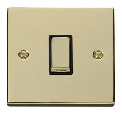 Polished Brass 10A 1 Gang 2 Way Ingot Light Switch - Black Trim