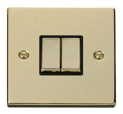 Polished Brass 10A 2 Gang 2 Way Ingot Light Switch - Black Trim