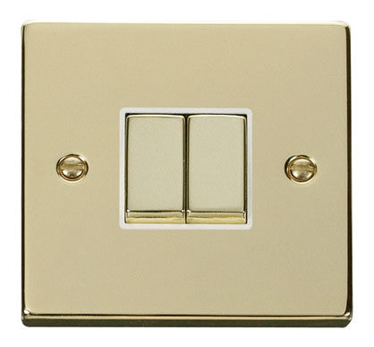 Polished Brass 10A 2 Gang 2 Way Ingot Light Switch - White Trim