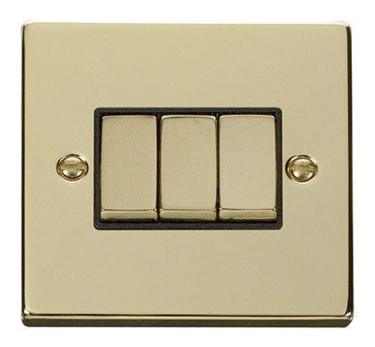 Polished Brass 10A 3 Gang 2 Way Ingot Light Switch - Black Trim