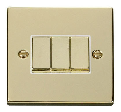 Polished Brass 10A 3 Gang 2 Way Ingot Light Switch - White Trim