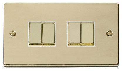 Polished Brass 10A 4 Gang 2 Way Ingot Light Switch - White Trim