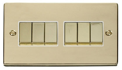 Polished Brass 10A 6 Gang 2 Way Ingot Light Switch - White Trim