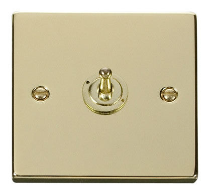 Polished Brass 1 Gang 2 Way 10AX Toggle Light Switch