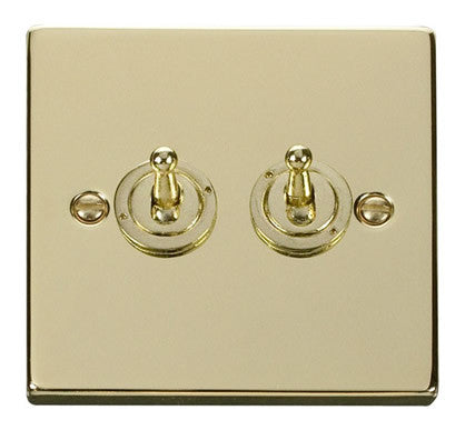 Polished Brass 2 Gang 2 Way 10AX Toggle Light Switch