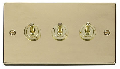 Polished Brass 3 Gang 2 Way 10AX Toggle Light Switch