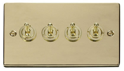 Polished Brass 4 Gang 2 Way 10AX Toggle Light Switch