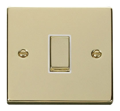 Polished Brass 10A 1 Gang Intermediate Ingot Light Switch - White Trim