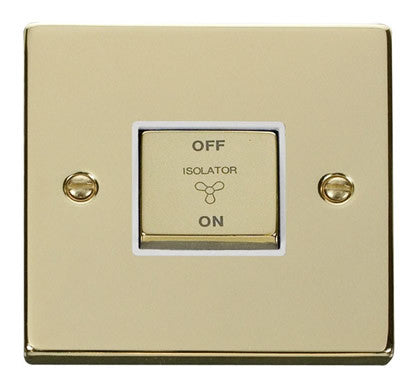 Polished Brass 10A 1 Gang Ingot 3 Pole Fan Isolation Switch - White Trim