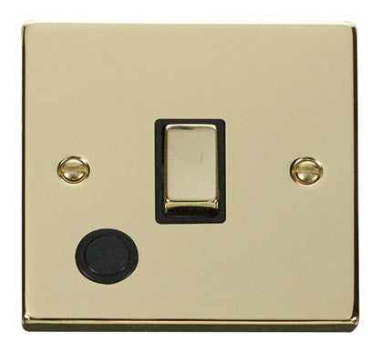 Polished Brass 1 Gang 20A Ingot DP Switch With Flex - Black Trim
