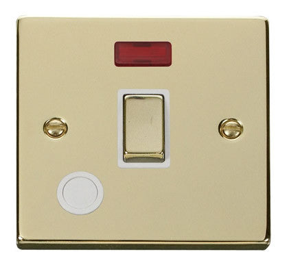 Polished Brass 1 Gang 20A Ingot DP Switch With Flex With Neon - White Trim