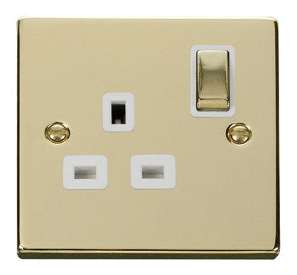 Polished Brass 1 Gang 13A DP Ingot Switched Plug Socket - White Trim