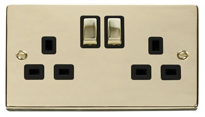 Polished Brass 2 Gang 13A DP Ingot Twin Double Switched Plug Socket - Black Trim