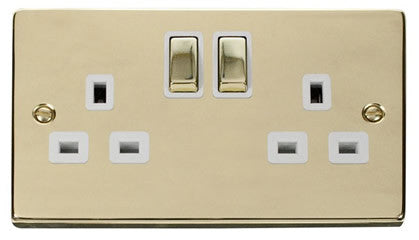 Polished Brass 2 Gang 13A DP Ingot Twin Double Switched Plug Socket - White Trim