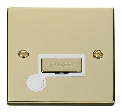 Polished Brass 13A Fused Ingot Connection Unit With Flex - White Trim