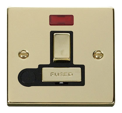 Polished Brass 13A Fused Ingot Connection Unit Switched With Neon With Flex - Black Trim