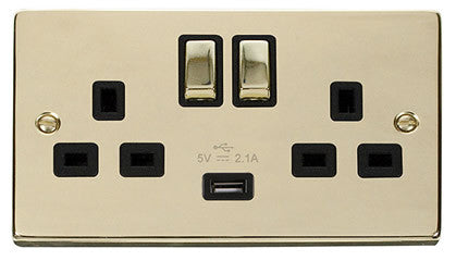 Polished Brass 2 Gang 13A DP Ingot 1 USB Twin Double Switched Plug Socket - Black Trim