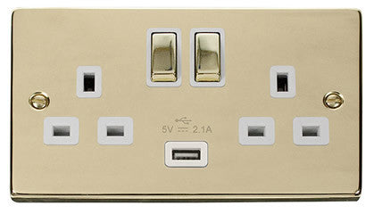 Polished Brass 2 Gang 13A DP Ingot 1 USB Twin Double Switched Plug Socket - White Trim