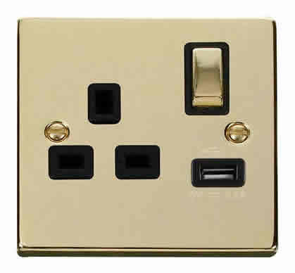 Polished Brass 1 Gang 13A DP Ingot 1 USB Switched Plug Socket - Black Trim