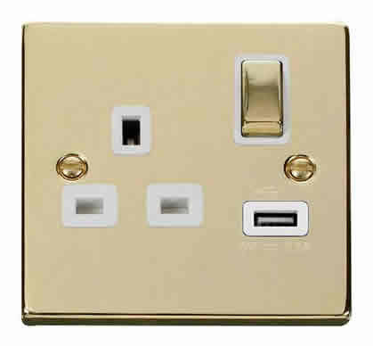 Polished Brass 1 Gang 13A DP Ingot 1 USB Switched Plug Socket - White Trim
