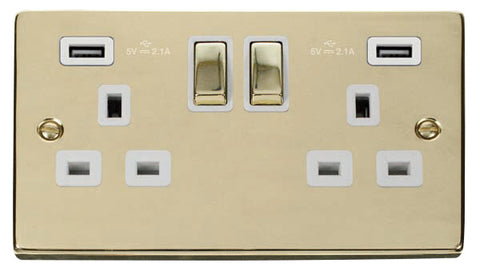 Polished Brass 2 Gang 13A DP Ingot 2 USB Twin Double Switched Plug Socket - White Trim
