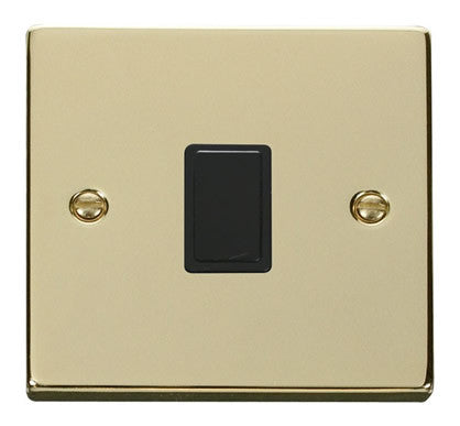 Polished Brass 1 Gang 20A DP Switch - Black Trim