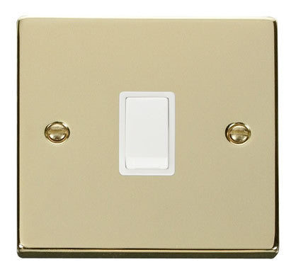 Polished Brass 1 Gang 20A DP Switch - White Trim