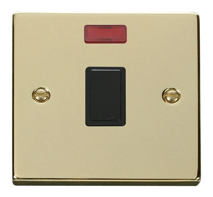 Polished Brass 1 Gang 20A DP Switch With Neon - Black Trim
