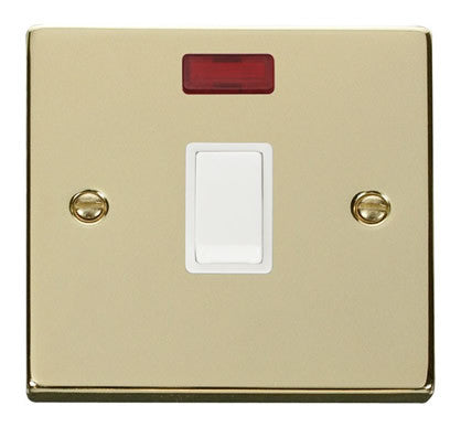 Polished Brass 1 Gang 20A DP Switch With Neon - White Trim