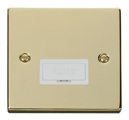 Polished Brass 13A Fused Connection Unit - White Trim