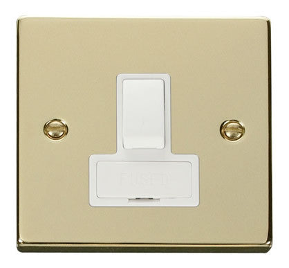 Polished Brass 13A Fused Connection Unit Switched - White Trim