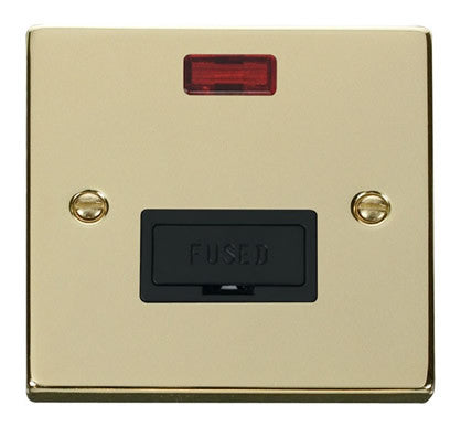 Polished Brass 13A Fused Connection Unit With Neon - Black Trim