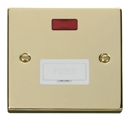 Polished Brass 13A Fused Connection Unit With Neon - White Trim