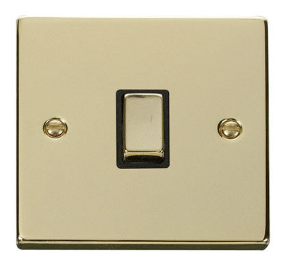 Polished Brass 1 Gang 20A Ingot DP Switch - Black Trim