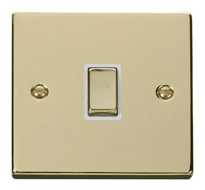 Polished Brass 1 Gang 20A Ingot DP Switch - White Trim