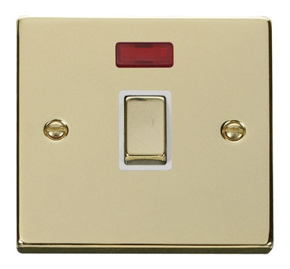 Polished Brass 1 Gang 20A Ingot DP Switch With Neon - White Trim