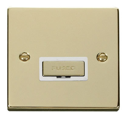 Polished Brass 13A Fused Ingot Connection Unit - White Trim