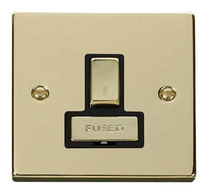 Polished Brass 13A Fused Ingot Connection Unit Switched - Black Trim