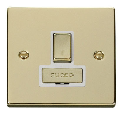 Polished Brass 13A Fused Ingot Connection Unit Switched - White Trim