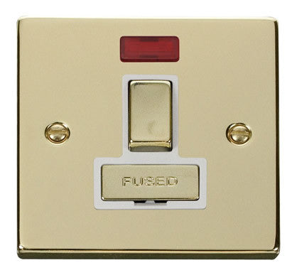 Polished Brass 13A Fused Ingot Connection Unit Switched With Neon - White Trim