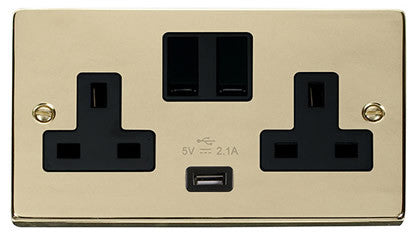 Polished Brass 2 Gang 13A 1 USB Twin Double Switched Plug Socket - Black Trim