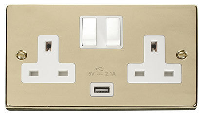 Polished Brass 2 Gang 13A 1 USB Twin Double Switched Plug Socket - White Trim