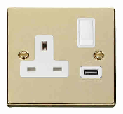 Polished Brass 1 Gang 13A DP 1 USB Switched Plug Socket - White Trim