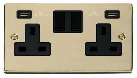 Polished Brass 2 Gang 13A 2 USB Twin Double Switched Plug Socket - Black Trim