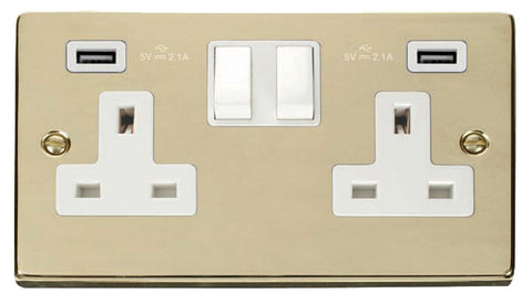 Polished Brass 2 Gang 13A 2 USB Twin Double Switched Plug Socket - White Trim