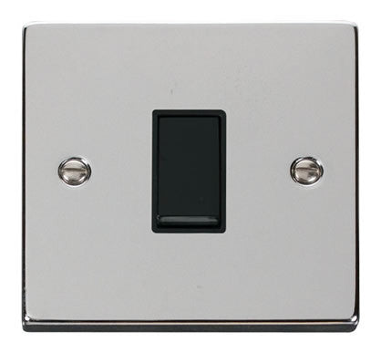 Polished Chrome 10A 1 Gang 2 Way Light Switch - Black Trim