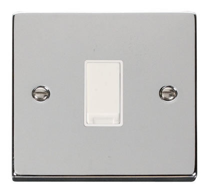 Polished Chrome 10A 1 Gang 2 Way Light Switch - White Trim