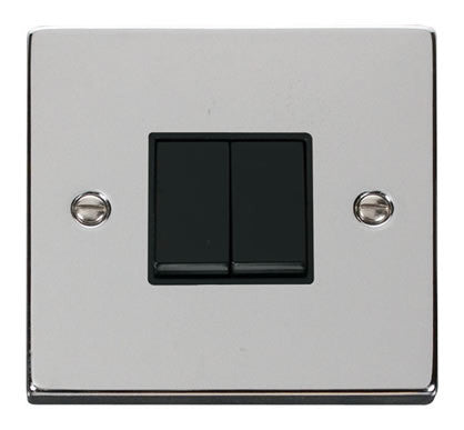 Polished Chrome 10A 2 Gang 2 Way Light Switch - Black Trim
