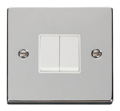 Polished Chrome 10A 2 Gang 2 Way Light Switch - White Trim