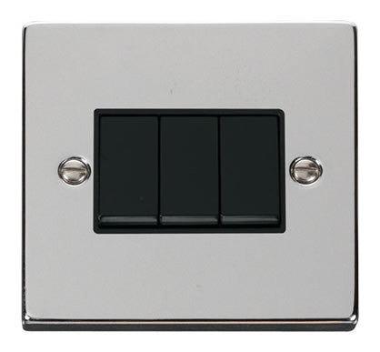 Polished Chrome 10A 3 Gang 2 Way Light Switch - Black Trim